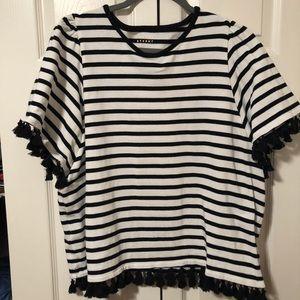 KATE SPADE black and white stripped tassel blouse
